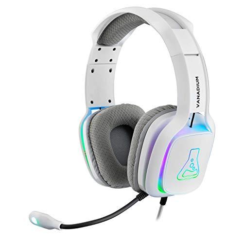 THE G-LAB Korp Vanadium Gaming Headset - Stereo Mikrofon, Ultraleicht, Ultra Bass Stereo Headset - 3,5 mm Klinke für PC/PS4/Xbox One/Nintendo Switch/Mac/Tablet/Smartphone - NEU 2021 (Weiß)