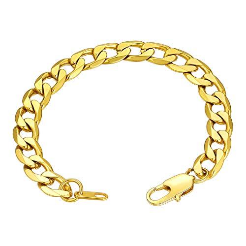 Pulseras doradas hombres mujeres Pulsera de acero inoxidable 9mm ancho 19cm largo Regalo Navidad cumpleaños San valentín