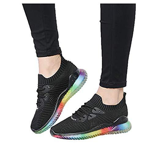Tefamore Zapatillas de Mujer Las Zapatillas de Deporte de la Jalea del Arco Iris de la Tendencia Tejieron los Calzados Informales Respirables 35-40