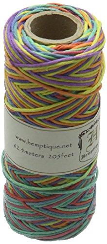 Hemptique 100% Hemp Cord Spool - 62.5 Meter Hemp String - Made with Love - No. 20 ~ 1mm Cord Thread for Jewelry Making, Macrame, Scrapbooking, DIY, & More - Variegated Rainbow