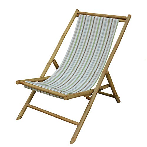 Zew Handcrafted Foldable Bamboo Outdoor Sling Chair with Treated Canvas, 37' L x 24' W x 33' H, White Stripe