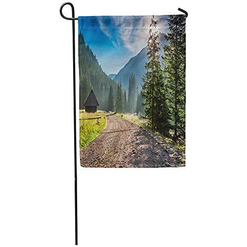 AllenPrint House Yard Flag,Green Trail Beautiful Sunrise in Valley Chocholowska Tatra Mountains Summer Cabin Funny Outdoor Seasonal Flags 45.7 * 32CM