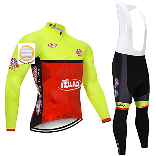 Tuta da Ciclismo in Pile Termico da Uomo, Maglia da Ciclismo Invernale con Pantaloni con Bretelle per Gli Sport all'Aria Aperta