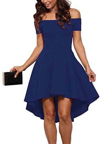 ErGirls Damen Schulterfreies Kleid, Elegant Skaterkleid Kurz Cocktailkleid Asymmetrisch Abendkleid Festlich Kleid (40, Blau)