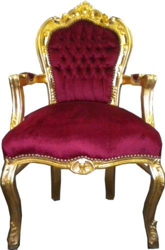 Barock Esszimmer Stuhl mit Armlehnen Bordeaux-Rot/Gold Ludwig XIV Stuhl Wohnung Wohnen Rokoko Jugendstil Stühle Möbel