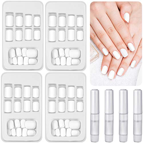 96 Pieces Matte False Nails Full Cover Short Fake Nails White Acrylic Square Nails with Glue for Women Girls DIY Nails Home Salon Favors