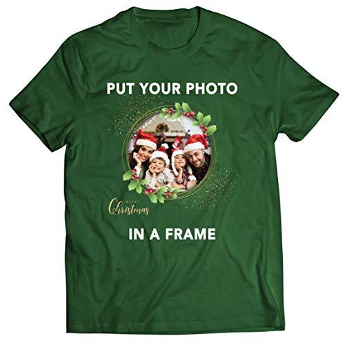 lepni.me Camisetas Hombre Marco Personalizado Vacaciones de Navidad Regalo Personalizado Foto Familiar (Large Verde...