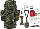 Survival Überlebens Set BW Bundeswehr Rucksack + Bundeswehr Mini Spaten nach TL + Einhandmesser + Erste Hilfe Notfall Kit + Drahtsäge + Flaschenöffner + Fire Rope in versch. Farben Farbe Woodland