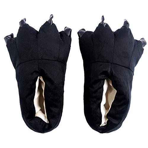 FashionFits Unisex Soft Plush Home Slippers Animal Costume Paw Claw Shoes Black,L(EUR39-45)