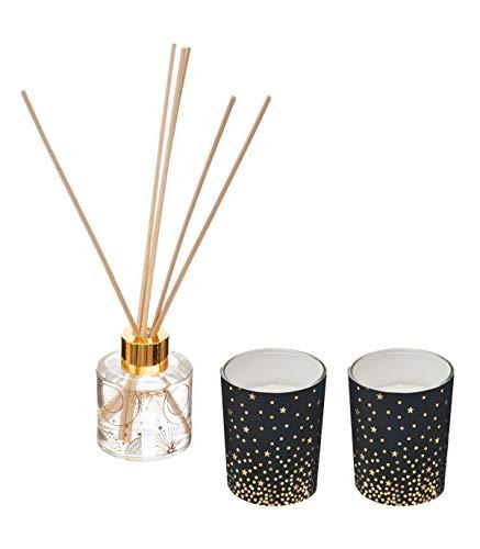Atmosphera - Coffret Senteur Diffuseur de Parfum avec bâtonnets et 2 Bougies dans Pot en Verre