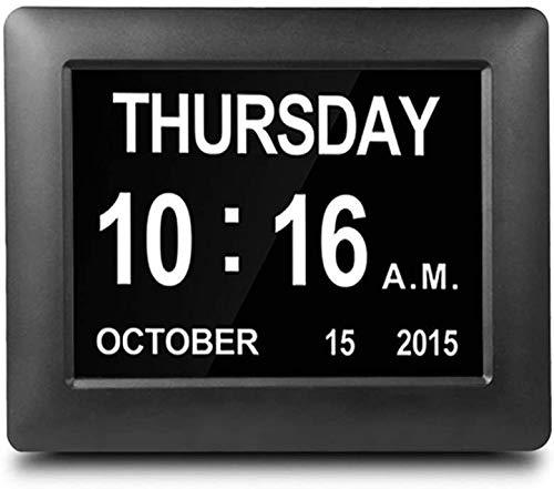 SWEETWATER - Reloj despertador digital, calendario digital con fecha extra grande y no abreviada para personas mayores, pérdida de memoria y demencia