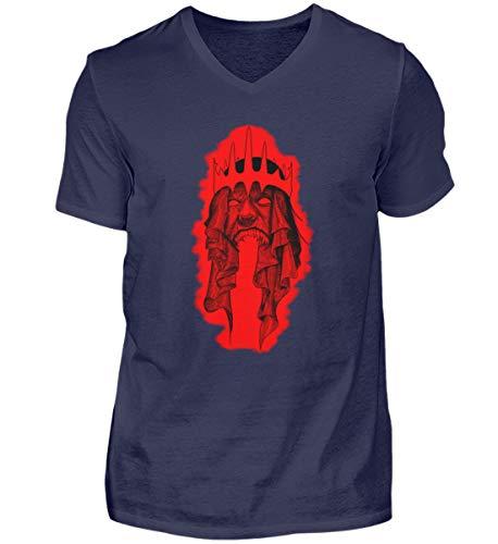 Fantasy Dämonen König Horror - Camiseta para hombre con cuello en V azul oscuro L