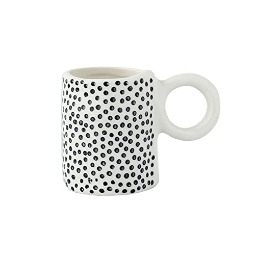 KDABJD Taza de café, taza de café pintada a mano de 80 ml, taza de café de personalidad geométrica de cerámica, taza de té, vajilla de decoración de cocina para el hogar