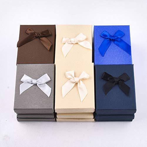 LYR 12pcs Juego de joyería Caja de Regalo Cuadrado Caja de Regalo con Bowknot para Collares Pendientes Anillos Embalaje Color Mixto-9x7x3.3cm