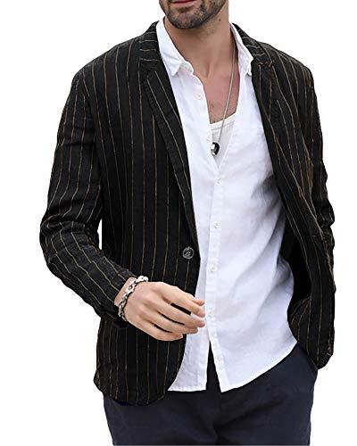 Makkrom Men's Linen Suit Jackets Striped Notch Lapel Lightweight Casual Blazer Sport Coats Black