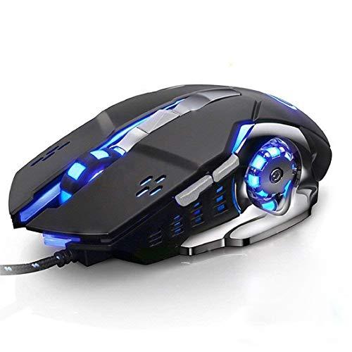 AROZE ゲーミングマウス 500-4000dpi 5段調節可能 6ボタン 4色 光学式高精度有線USBマウス (ブラック)