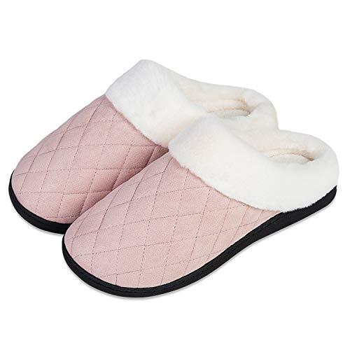 Inverno Pantofole Donna Ciabatte Peluche Scarpe da Casa Morbido Antiscivolo Caldo Comode Memoria Schiuma Pantofole per Interno Esterno(Rosa.FG,38/39 EU)