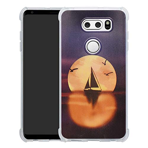 HHDY LG V30 Hülle, Painted Muster Weich Superdünne TPU Silikon Bumper Handyhülle Hülle für LG V30 / V30+ / V30s ThinQ / V30s+ ThinQ / V35 ThinQ,Sailboats und Moon