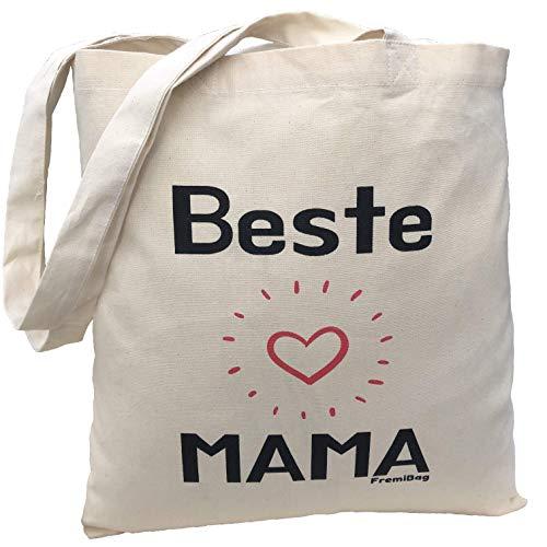 FremiBag Beste Mama Tasche | Einkaufstasche zum Geburtstag für die Mama Muttertagsgeschenk/Eine Stofftasche für Mutter/Das Geschenk für Mama oder Oma/Jutebeutel Bedruckt