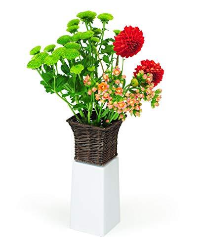 XXD Design Emily Vase carré en Porcelaine Motif Fleurs