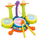Haowen Conjunto de batería Juguetes Musicales Instrumentos Musicales Juguetes para niños pequeños Piano con Baquetas de Colores 39,5 * 33 * 25 CM