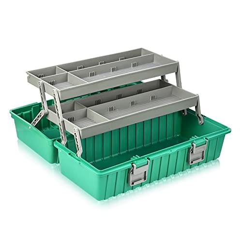 Caja de herramientas Caja de almacenamiento de plástico de 3 capas con caja de herramientas plegables portátiles de la bandeja organizadores multiusos organizadores y estuche de almacenamiento para ar