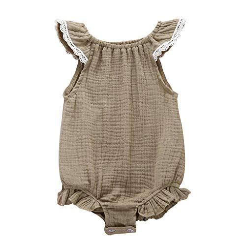 Pwtchenty baby Kinder Sleeveless Lace Jumpsuit MäDchen Solid Druck RüSchen Strampler Spielanzug Kleidung Sommer Overall Bodys
