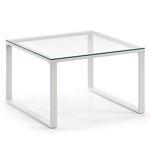 Kave Home - Mesa de Centro Sivan Transparente Cuadrada 60 x 60 cm de Cristal Templado y Patas de Acero en Blanco ⭐