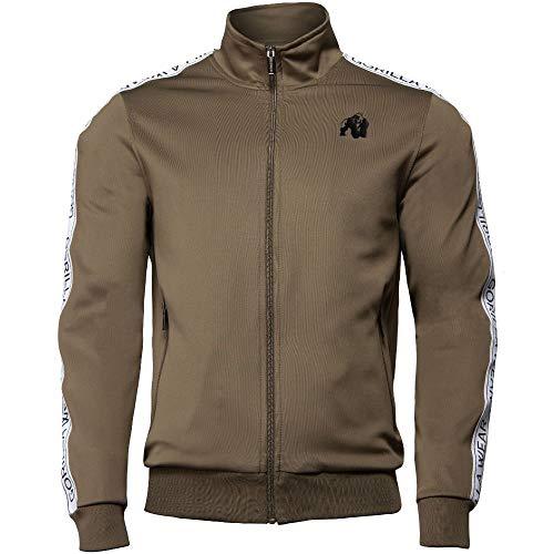 GORILLA WEAR Fitness Jacke Herren - Wellington Track Jacket - Zipper Sweatshirt Bodybuilding Olive Green S