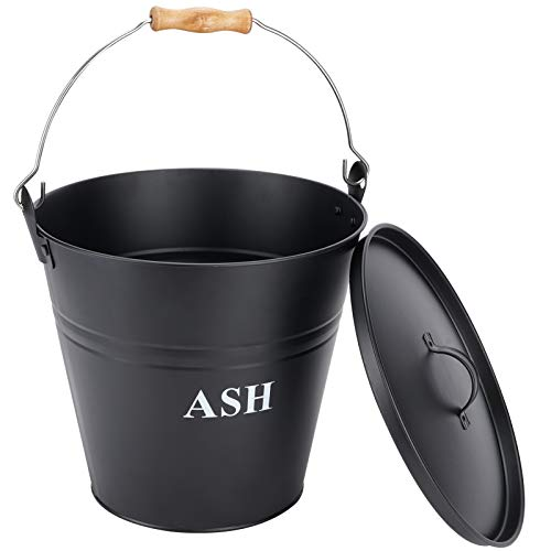 INNO STAGE ash bucket with lid iron ash bucket for fireplace, fireplace, wood stove black