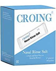 CROING - 160 paquetes de sal para rinocornio, para enjuague nasal y sinusal, bolsas de lavado para la nariz, alivio de los conductos nasales