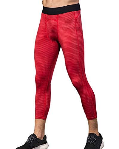 DaobaMEN Uomo Workout 3/4 Leggings 3D Running Exercise Tight Bodybuilding Sport Pantaloni