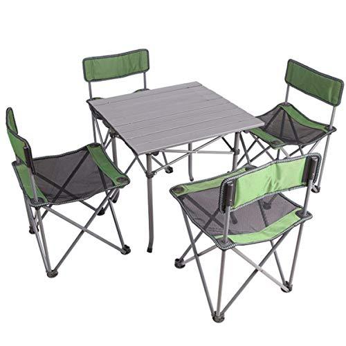 FOMT Mesa Plegable Camping con Sillas Dentro,4 Sillas Portátiles Y 1 Mesa...