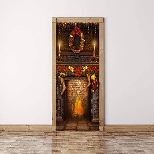 TXFMT deur behang open haard idee - 3D deur Sticker DIY deur muurschildering zelfklevende deur poster woonkamer slaapkamer kinderkamer badkamer keuken Vinyl folie deur kunst decoratie 80x210cm