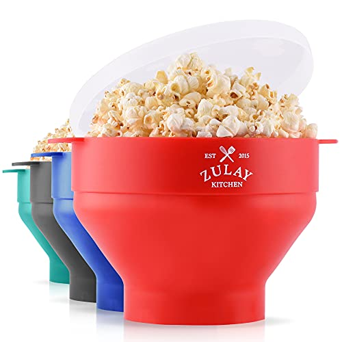 Zulay Kitchen Large Microwave Popcorn Popper Collapsible, BPA Free Silicone Popcorn Popper Microwave Collapsible Bowl, Quick & Easy Popcorn Popper Silicone Microwave (Classic Red)