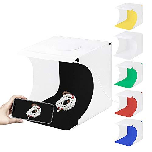 Fotobox, Foto Studio Zelt,Tragbarer Foto-Studio-Ministand-Schießzeltinstallationssatz faltende Fotografie Leuchtkasten,Mit Leuchten 6 Farben Backdrops(20cm x 20cm x 20cm)