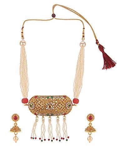 Efulgenz Indian Bollywood Traditional 14 K Gold Plated Crystal Kundan Pearl Beaded Wedding Temple Tassel Choker Necklace Earrings Jewellery Set