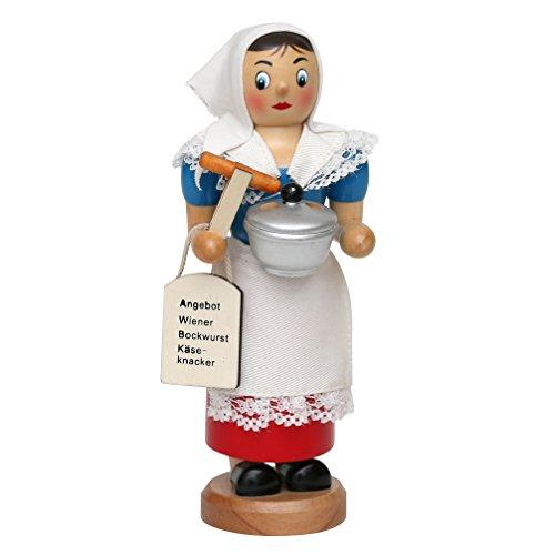 Räucherfrau, De Würschtle Fraa, ca. 19 cm, mit rauchenden Wurstkessel