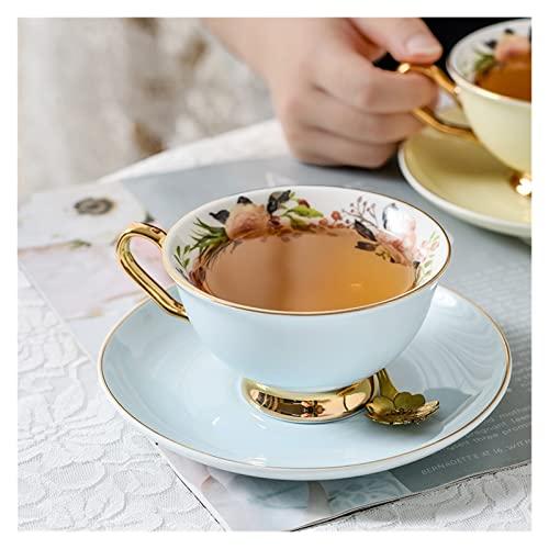 QSCTYG Tazas Cafe Copa de café de cerámica Set Exquisito Color Golden Rim Café de café y platillo Taza de té Taza de té Taza de té 73 (Capacity : 200-300ml, Color : Blue)