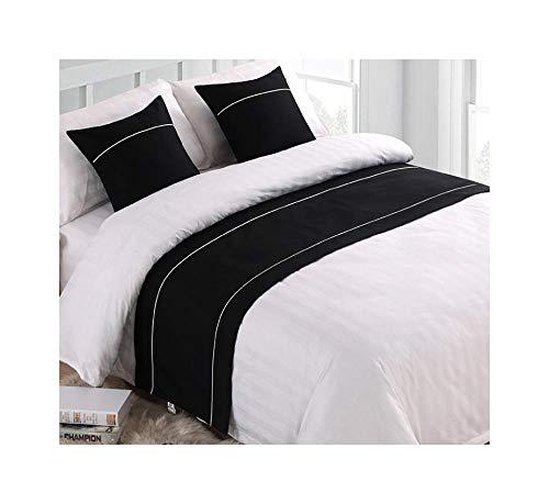 SDCER Chemin de Lit Double en Lin Bed Runner Décoratif Couleur Unie Coton Drap Queue Coussinet Coureurs de lit Hôtel Homestay Noir 45X45cm/17.7X17.7inches(1 taie d'oreiller Pas d'oreiller)
