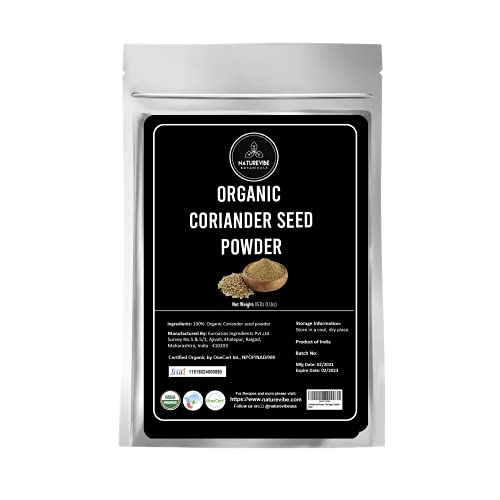 Naturevibe Botanicals USDA Organic Coriander Seed Powder - 1lb (16 Ounce) - Coriandrum sativum   Raw, Gluten-Free & Non-GMO   Rich Amount of Minerals   Indian Spice [Packaging may vary]…