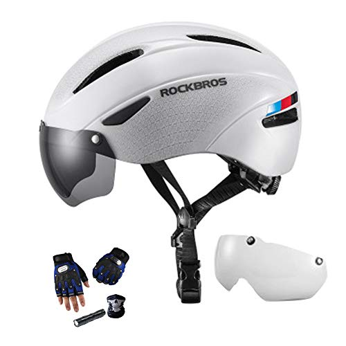 YYYY Ultra-Light Bike Helmet, Detachable, with Goggles, Comfortable and Breathable, 7 Holes, Unisex Mountain Bike for Skating, Mountaineering and Rock Climbing (57-62 cm) 3