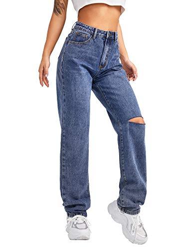 SweatyRocks Women's High Waist Slant Pocket Denim Jeans Ripped Straight Leg Pants Blue L