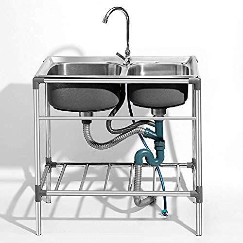 Lavello da cucina in acciaio inox 304 lavello da campeggio cucina mobile 760 x 420 x 800 mm 2 lavabo rubinetto senza acqua