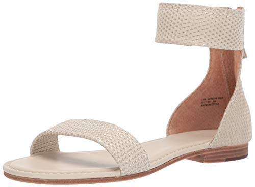 FRYE Women's Carson Ankle Zip Flat Sandal, Silver Diamond, 5.5 M US