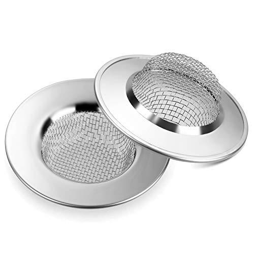 Anpro 2 Filtro Lavello Cucina in acciaio - Colino in Acciaio Inox inossidabile Mini Sink Strainer per Prevenire il Blocco Conduit Vegetale del Filtro per Doccia, Vasca da Bagno o Lavelli da Cucina