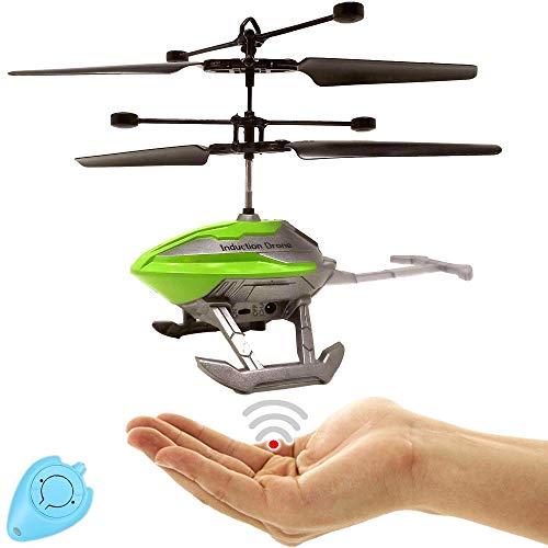 Elicottero RC con sensore di controllo (verde) UFO Drone per bambini, facile da controllare tramite sensore di movimento, controllo manuale incluso telecomando IR
