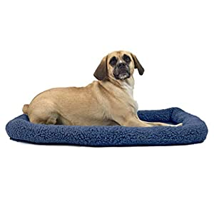 Furhaven Pet Dog Bed Kennel Pad – Faux Lambswool and Sherpa Crate or Kennel Mat Bolster Pet Bed for Dogs and Cats, Blue, Large