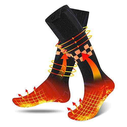 Weefun Heated Socks, Upgraded Rechargeable 4 Heating Settings,Electric Socks with Large Capacity Battery for 18 Hours Heating time Winter Skiing Camping Hiking Warm Socks for Men and Women