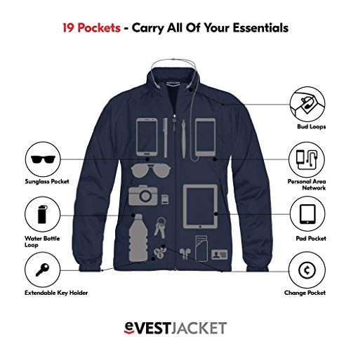 Product shot of mens travel jacket with graphics showing hidden pockets.